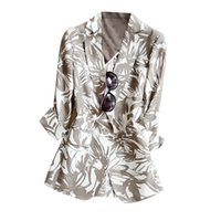 abstract blazer - Women s Elegant light coffee color abstract print simple cotton and linen one button blazer