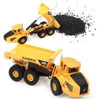 Wholesale Alloy City Engineering Car Models Material Handling Vehicle Manipulator arm can extend And Yellow Dump Truck Kids Building Blocks Toys