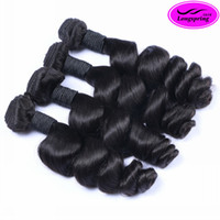 achat en gros de paquet de vague naturelle indienne vierge-Wholesale Indian Loose Wave 3pcs lot Natural Black 12-28inch Cheveux humains vierges tissés Indian Loose boucles d'oreille bouclées