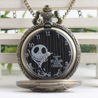 Wholesale New Nightmare Before Christmas necklace pocket watch Bronze skull locket quartz Fob Watches necklaces men men women fashion jewelry