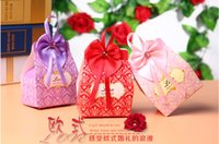 Wholesale 2016 New Europe Style Candy Box Paper Piece Rectangle with Red Satin Favor Holders Party Boxes Gift box Candy box