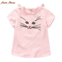 Wholesale Auro Mesa Lovely Pink Girl Tee Shirts Summer Short Sleeve Cotton Tee Tops Cute Cat Children Tees
