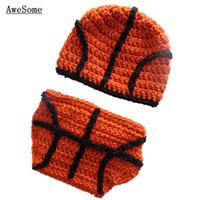 baby basketball costume - Little Basketball Star Costume Handmade Knit Crochet Baby Boy Girl Cute Beanie Hat Diaper Cover Set Toddler Newborn Infant Photo Prop