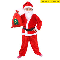 Wholesale Christmas Costumes For Teenage Boys - 10-13 Years Set Of 5 One Suit Costume Christmas Clothing For boys Santa Claus Suit Cosplay Clothes Pleuche Christmas Clothing P.C:95-1156