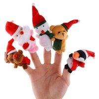 Wholesale Christmas Finger Puppets Cloth Doll Santa Claus Cartoon Animal Toy Baby Educational Finger Puppets
