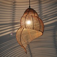 bamboo lamps - Bamboo weaving Ceiling lamp Wood Droplight Conch pendant lamp LED Pendant Light Bedroom Chandeliers LivingRoom Dining Room Corridor coffee