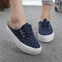 animal pedals - 2016 New Women s Casual Shoes Sweet and Cute Polka Dot Pedal shoes women platform Casual Shoes low top canvas shoes