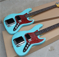 bass body styles - 4 String Electric Bass with Sky Blue Body Red Tortoise Shell Pickguard In Old Style and Can be Customized