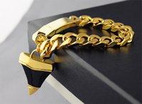 achat en gros de sac cadeau couleur or-Bijoux Fantaisie Lady Link Chaînes Bracelet Punk Style Gold Colour Cadeau Haute Qualité Paquet (Poussière + Boîte) # GIB1