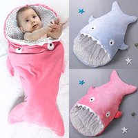 Wholesale New Arrival Cute Shark Sleeping Bag for Baby years old Children Cotton Plush Warm Blanket Colors