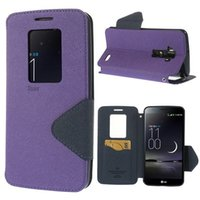 Cheap Luxury Roar Korea Diary Circle View Window Leather Cover Stand Case for LG G Flex D950 D955 D958 D959 LS995 Capa Stand Pouch Phone Cases