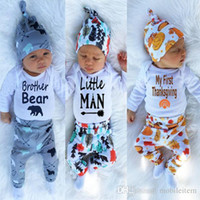 baby animal hats - Baby outfits Baby rompers boy clothes Romper pant hat Three piece boy girls clothing sets kids clothes Jumpsuits Thanksgiving clothing