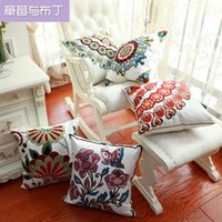 Wholesale 45X45cm Embroidery Cotton New Decro Pillow Cases Sofa Chair Pillow Car Seat Back Cushion Case For New House Gift ST30