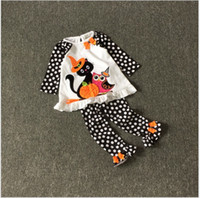 baby tricks - 2016 Baby Girl Halloween Clothing Sets Kids Long Sleeve Polka Dots T shirt Pants Set Girls Suits Children Outfits Baby Trick Clothes