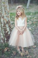 baby tea party - 2016 Cute Ivory Satin Flower Girl Dress Tulle Flower Girls Dress Baby Tutu Dresses Tea Length Handmade Flowers Bows Birthday Party Dresses