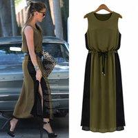 Wholesale Chiffon stitching dress bigger sizes women s wear sleeveless vest skirt fat mm show thin waist Big yards