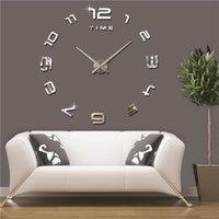 Wholesale Brand Hippih Large d Wall Clock Mirror Sticker DIY Wall Clocks Home Decor Horloge Murale Modern Design relogio parede