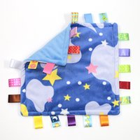 Wholesale Newborn Infant Calm Soft Velvet Comfort Towel Baby Square Appease Towel With Color Labels Baby Products cm