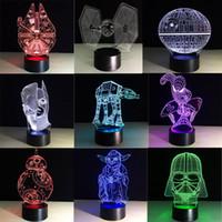 battery touch lamp - Star Wars led lamp BB8 D Bulbing Light creative visual illusion lamp Darth Vader Millennium Falcon kids toys master Yoda bulb battery box