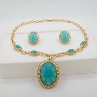 africa factory - Factory outlets in the Middle East Africa imitation jade emerald necklace jewelry sets wedding jewelry sets