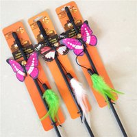 Wholesale Funny cat toys with feather bells Symphony luminous butterfly funny cat plastic stick