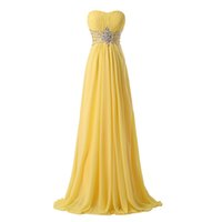 Wholesale Real Long Evening Dresses Strapless A line Beaded Yellow Chiffon High Waist Formal Evening Gowns