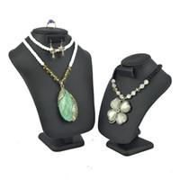 Wholesale New Arrival High Quality Faux Leatherette Jewelry Display Mannequin Black PU Leather Bust Stand With Ring Earrings Hook Necklace Holder
