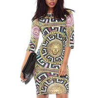 Wholesale 2016 HOT Poloyester Summer O Neck Sexy Club Party Dress Medusa Maze Chain Print Bodycon Dresses For Women D5009