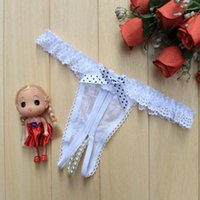 Cheap Hot sales XJ045 Fashion Ladies Pearl Lace Panties G-strings Bow-knot Open Crotch Underwear