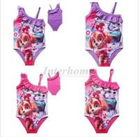 baby tutu swimsuit - Baby Paw Patrol Swimwear Cartoon Patrol Dog One Piece Bikini Girls TUTU Poppy Dog Swim Dog Paw Swimsuit Fireman Sam Patrol Beachwear B442