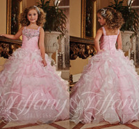 Wholesale Pink Long Girls Pageant Dresses Crystals A Line Ruffles Beaded Sequins Corset Organza Flower Girls Formal Gowns Glitz Birthday Toddler