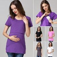 Wholesale Cotton Maternity clothes Short Sleeve Maternity Tops maternity shirt Nursing top nursing clothes Breastfeeding clothes for pregnant women