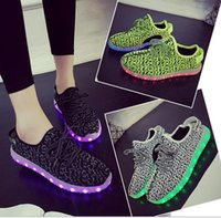 Wholesale Couples Wedding Dress - New Couple USB charging light-emitting LED colorful fluorescent shoes sneakers for men and women shoes 1418