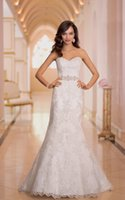Wholesale 2016 In Stock Wedding Dresses in Ivory Color US Size Lace Appliques Beaded Satin Elegant Bridal Gowns Cheap under