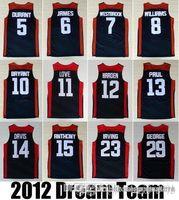 Wholesale 2012 USA Dream Jersey Team Dark Blue good Durant Paul James Harden Westbrook Bryant Davis Anthony George Irving jerseys