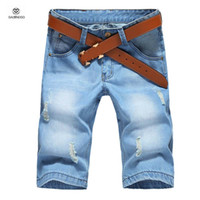 Wholesale Brand Design Mens Denim Shorts Homme Knee Length Half Fashion Ripped Shorts For Boys Bermuda Masculina Light Blue Big Size