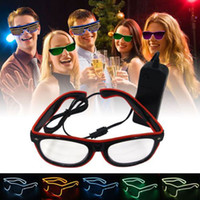 Wholesale Fashion EL Wire led neon Glasses for christmas Birthday Halloween neon party Costume party decor supplies Lighting glasses Green Blue Purple