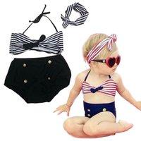Wholesale Sailor Bikini Bathing Suit - PrettyBaby 2016 Cute Striped Sailor Child Bikini swimsuit swimwear high waisted bathing suit for kids baby girls children swimsuit 3pcs set