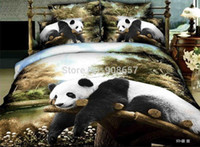 Wholesale new cute panda animal print children s comforters economic bedclothes full queen bedding set quilt cover flat sheet pillow sham
