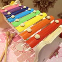 Wholesale Baby Toys Cute KT Cat Scales Xylophone Wooden Toys Shape Hand Knock Xylophone Child Music Toys Infant Gift