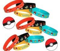 Wholesale Poke Silicone Bracelets toys color Children Poke Ball Sylveon Pikachu Charmander Bulbasaur Jeni turtle Bracelets Min Order Free Shi