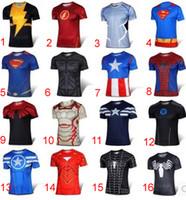 Wholesale 24 Design Superhero D Short sleeved T shirt The Avengers men leotard Jersey shirt sports quick dry Fitness T shirt