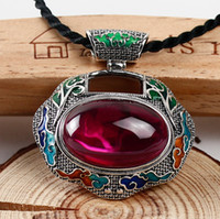 agate red mosaic - Jimei silver silver silver Cloisonne pendant safety lock large female yellow mosaic agate red gem sweater chain pendant shipping just