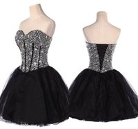 Wholesale 2016 Cheap Black Sweetheart Lace Women s Homecoming Dress Short Prom Dresses Cocktail Dress HY1566