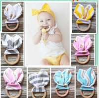 Wholesale 30pcs BPA Free Safe baby Teething Ring Fabric and Wooden Teether Teething Training with Crinkle Material Inside Sensory Toy