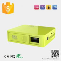 Wholesale In stock Newest lumens UC50 led mini pocket handheld multimedia projector contrast built in battery free ship