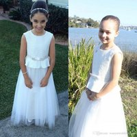 bead groups - 2016 Glamorous Jewel Fully Sequined Peplum Flower Girls Dresses Groups Ribbon Nicely Tulle Draped Floor Length A Line Princess Pageant Gown