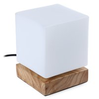 Wholesale 2016 Fashion LED Table Lamp Square Shaped LED Desk Light Wooden Base Table Lamp Foyer Study Bedroom Lighting Decoration lt no tracking