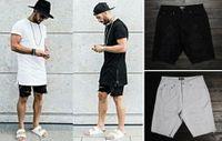 Cheap Wholesale-hip hop clothing for big men 30-40 mens designer urban star skinny destroyed Black white jeans mens ripped denim shorts