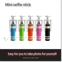 Wholesale hot mini wired monopod selfie sticks for Ios android Extendable universal Aluminum pocket foldable cable selfie sticks with